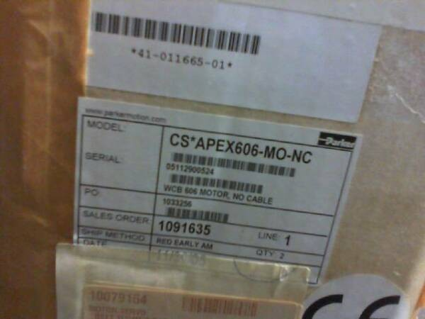 Parker Apex606-mo-nc Brushless Servo Motor in factory packaging